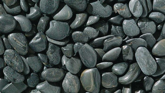 Black Polished Pebbles in Black