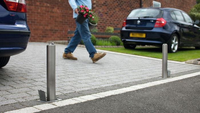 Driveway Security Post in Silver