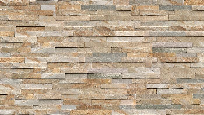 Stoneface Drystack Veneer Walling in Harvest Mix Quartzite
