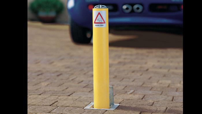 Driveway Security Post - Yellow