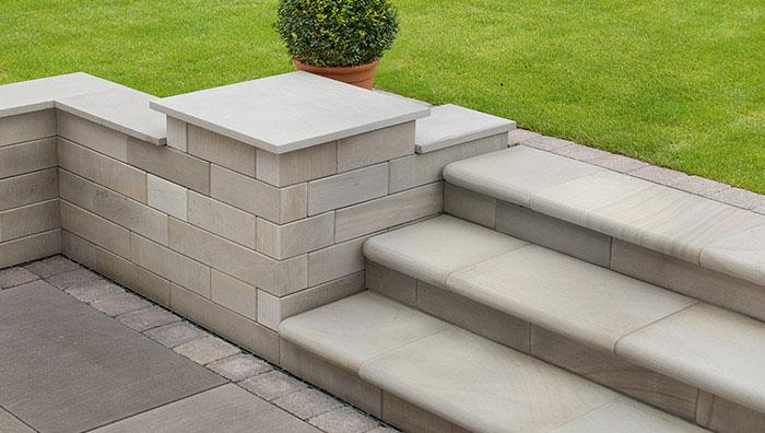Flamed Narias Sandstone, Silver Birch Multi. Sawn Walling, Silver Multi. Steps, Antique Silver Multi