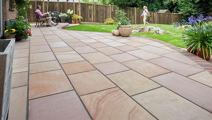 Flamed Narias Sandstone Paving, Autumn Bronze Multi