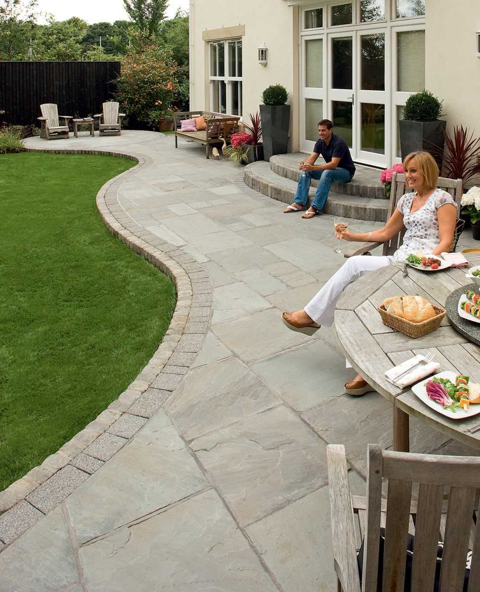 Fairstone riven harena garden paving for Garden decking and slabs