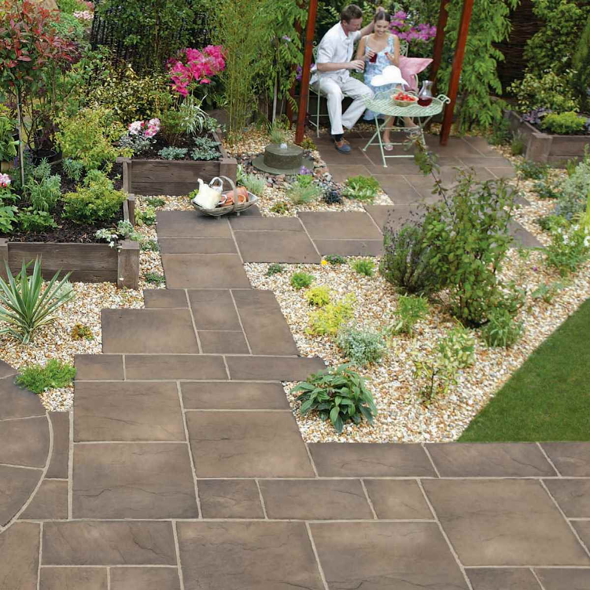 Heritage riven garden paving for Garden paving designs