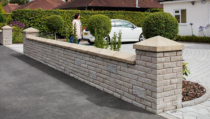 Marshalite Pitch Faced Garden Walling - Buff