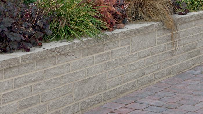 Marshalite Pitch Faced Garden Walling - Ash Multi