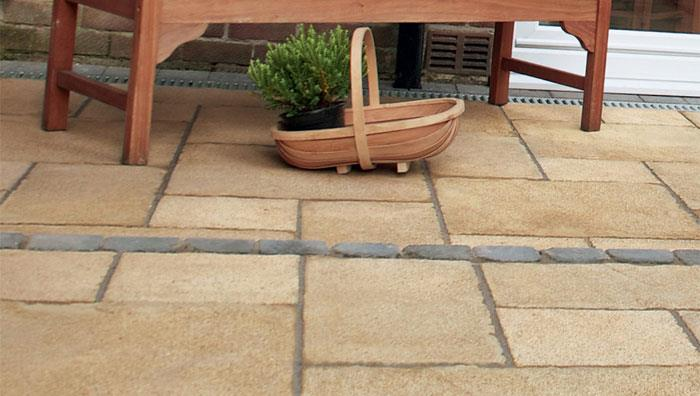 Regent Textured Riven Garden Paving - Buff