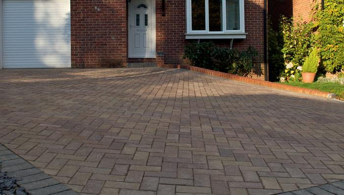Standard Concrete Block Paving, Bracken, edged with Charcoal