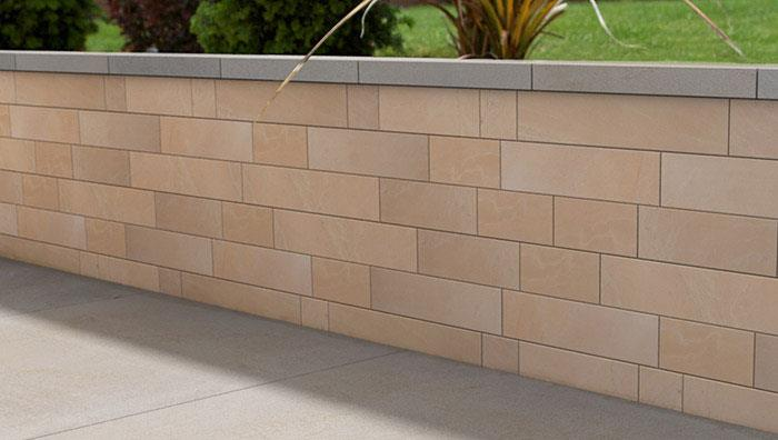 Stoneface Veneer Walling, Golden Sand Multi. Coping Sawn Versuro Silver Multi.